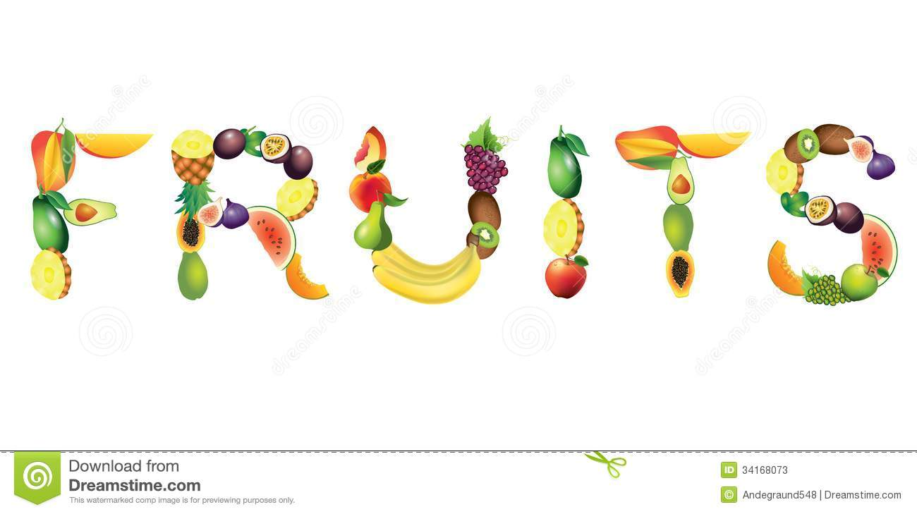 Fruits word from ripe fruits, vector illustration.