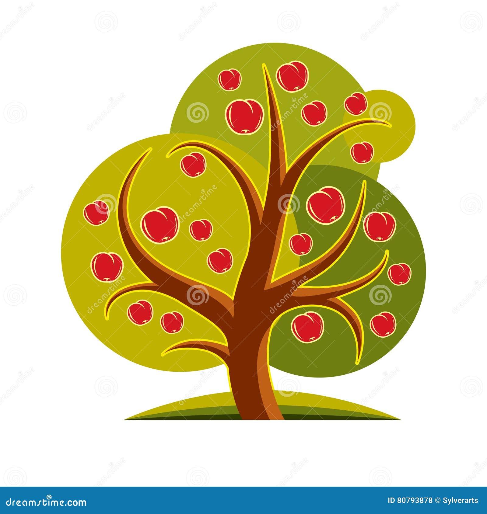 Fruity дерево при зрелые яблоки изолированные на белизне Органический и eco