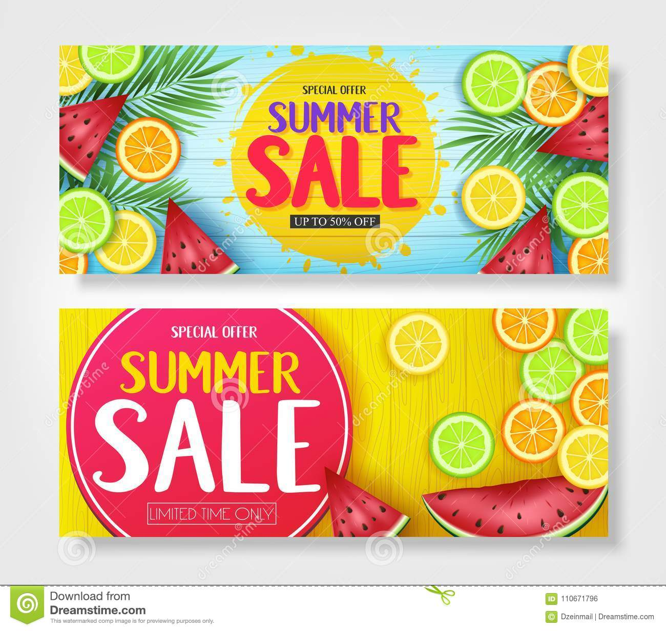 Fruity Summer Sale Colorful Banners with Watermelon, Orange, Lime and Lemon Tropical Fruits