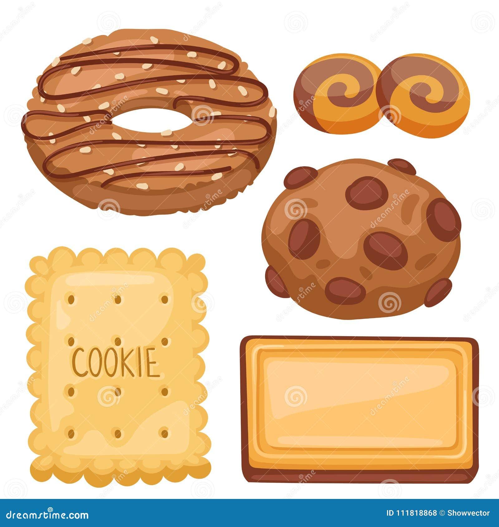 Frukosten för sikten för kakavektorkakor bakar den bästa hemlagade sött för bagerikakan för mat den ljusbruna illustrationen för