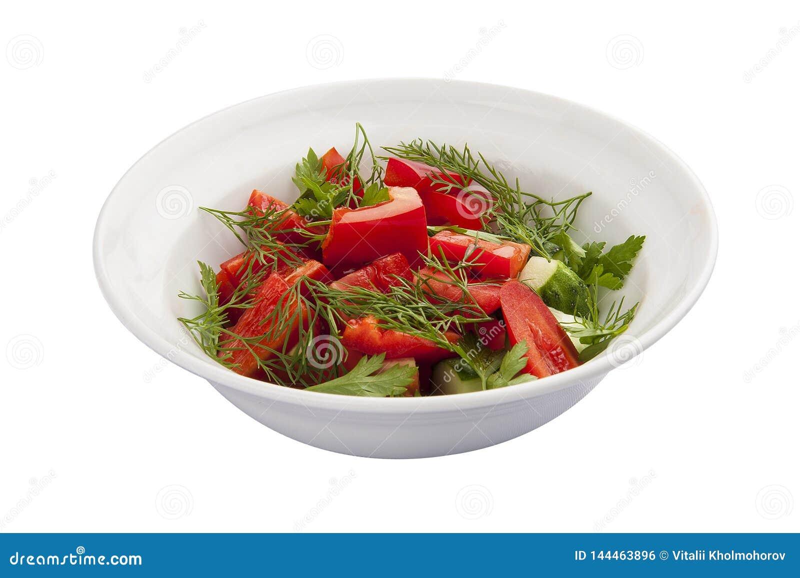 Frukostgrönsaksallad med tomaten och gurkan