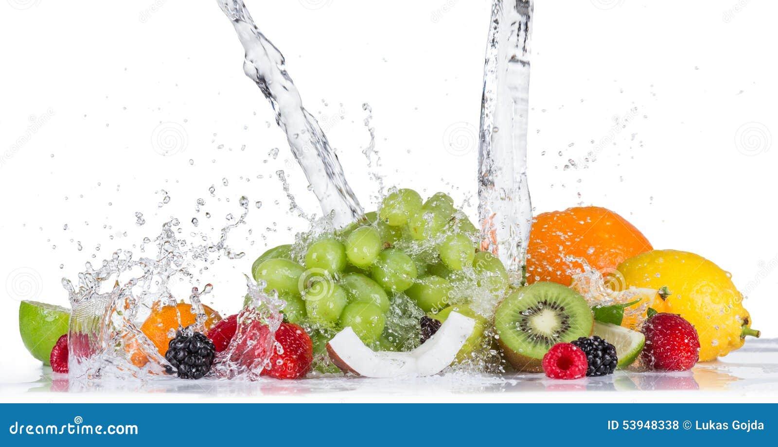 Frukt med vattenfärgstänk