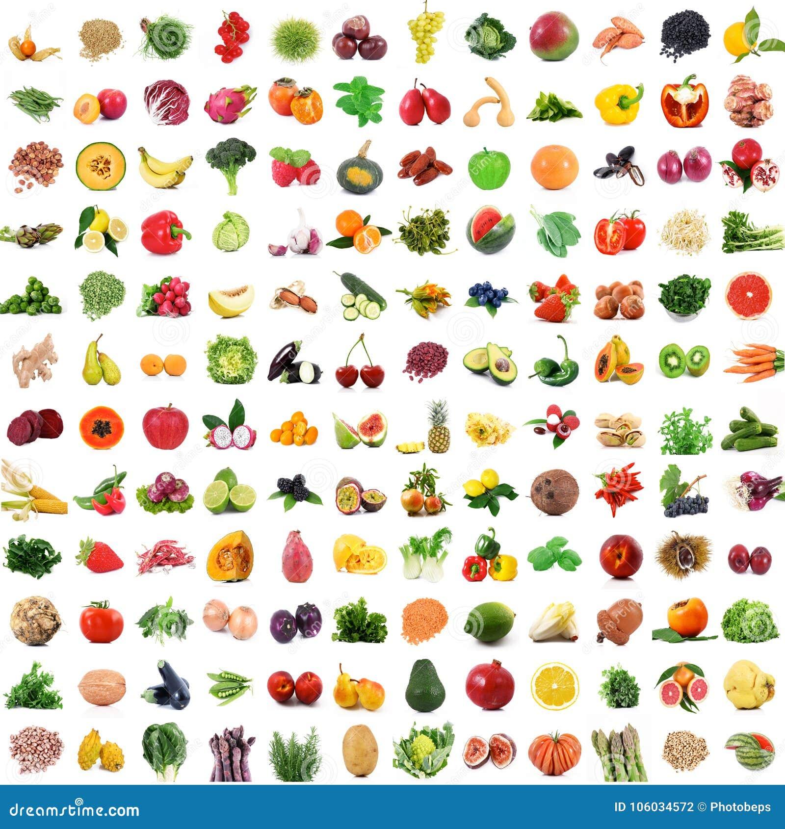Frukt och grönsakcollage på vit bakgrund