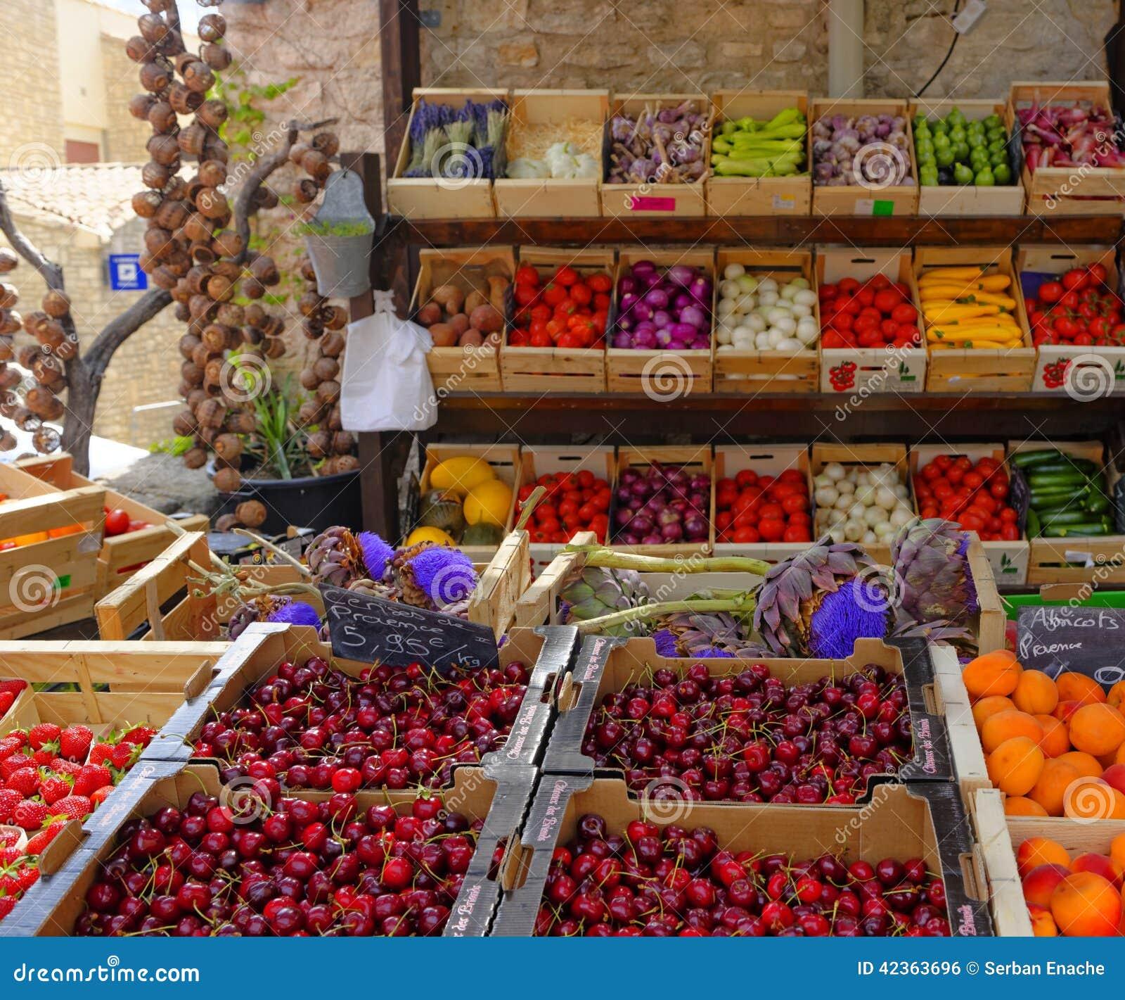 Frukt- och grönsakmarknad i Provence
