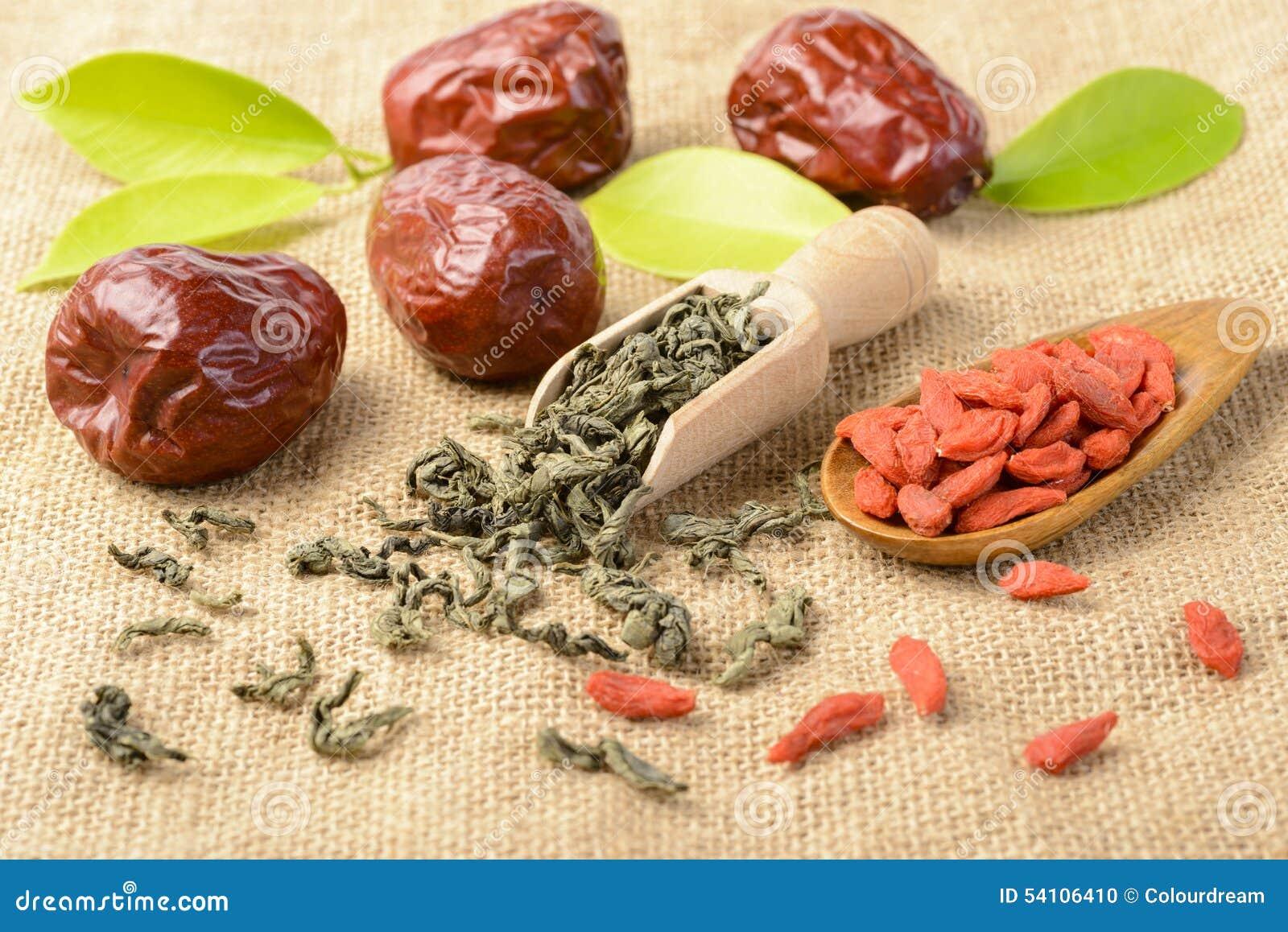 Frukt och te för torkat datum