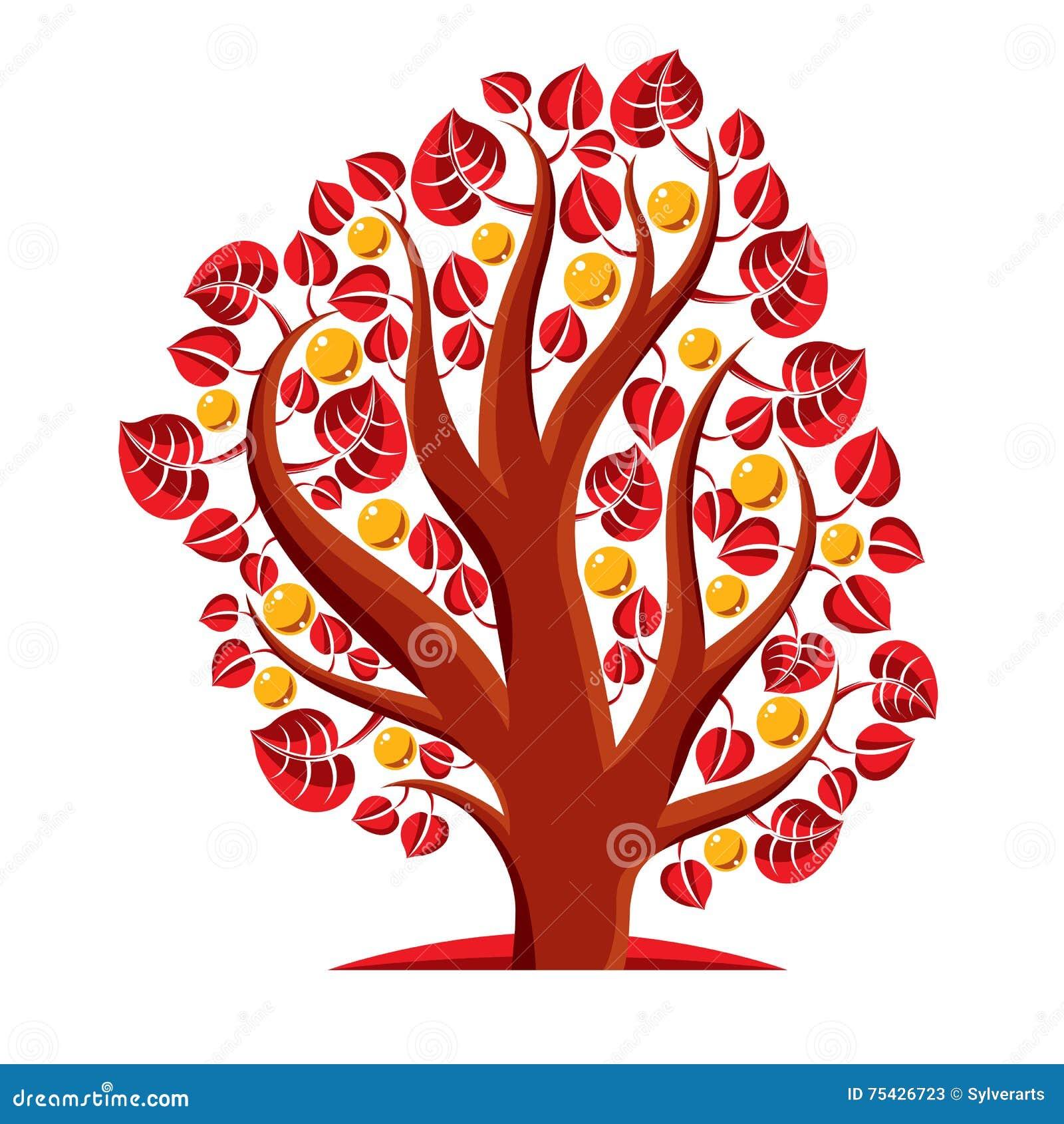 Frukt- träd med mogna äpplen på vit Rikedom och prosp