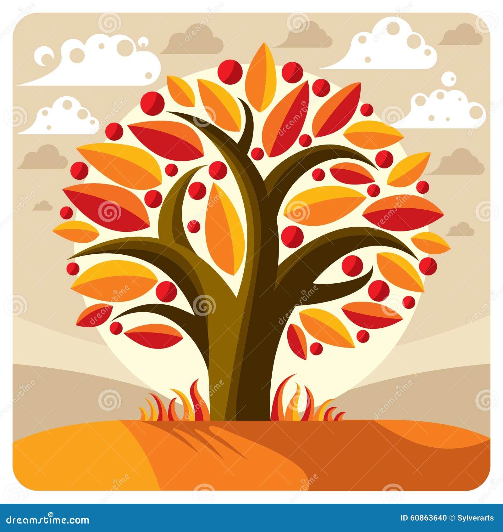 Frukt- träd med mogna äpplen som förläggas på stiliserad bakgrund