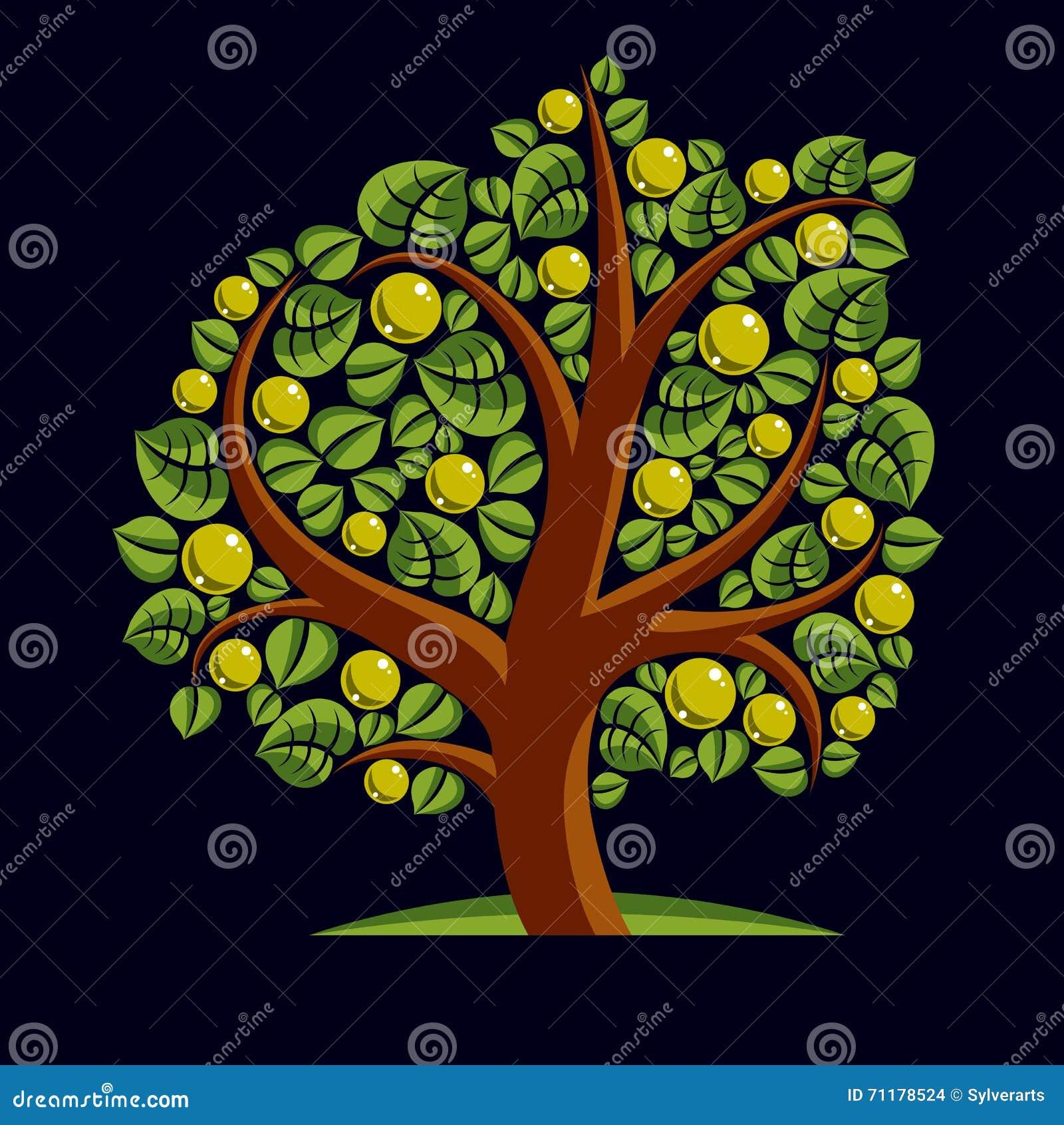 Frukt- träd med mogna äpplen som isoleras på vit Rikedom och prosp