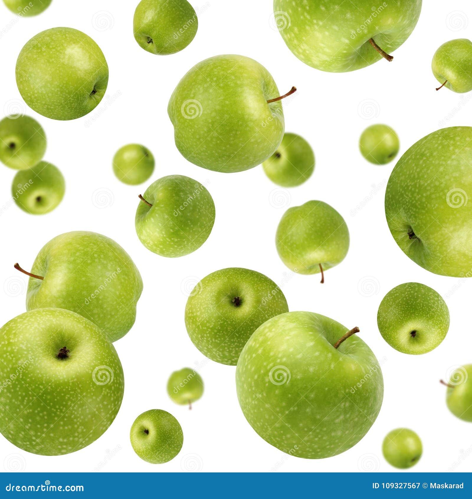 Fruktbakgrund med gröna äpplen Selektivt fokusera
