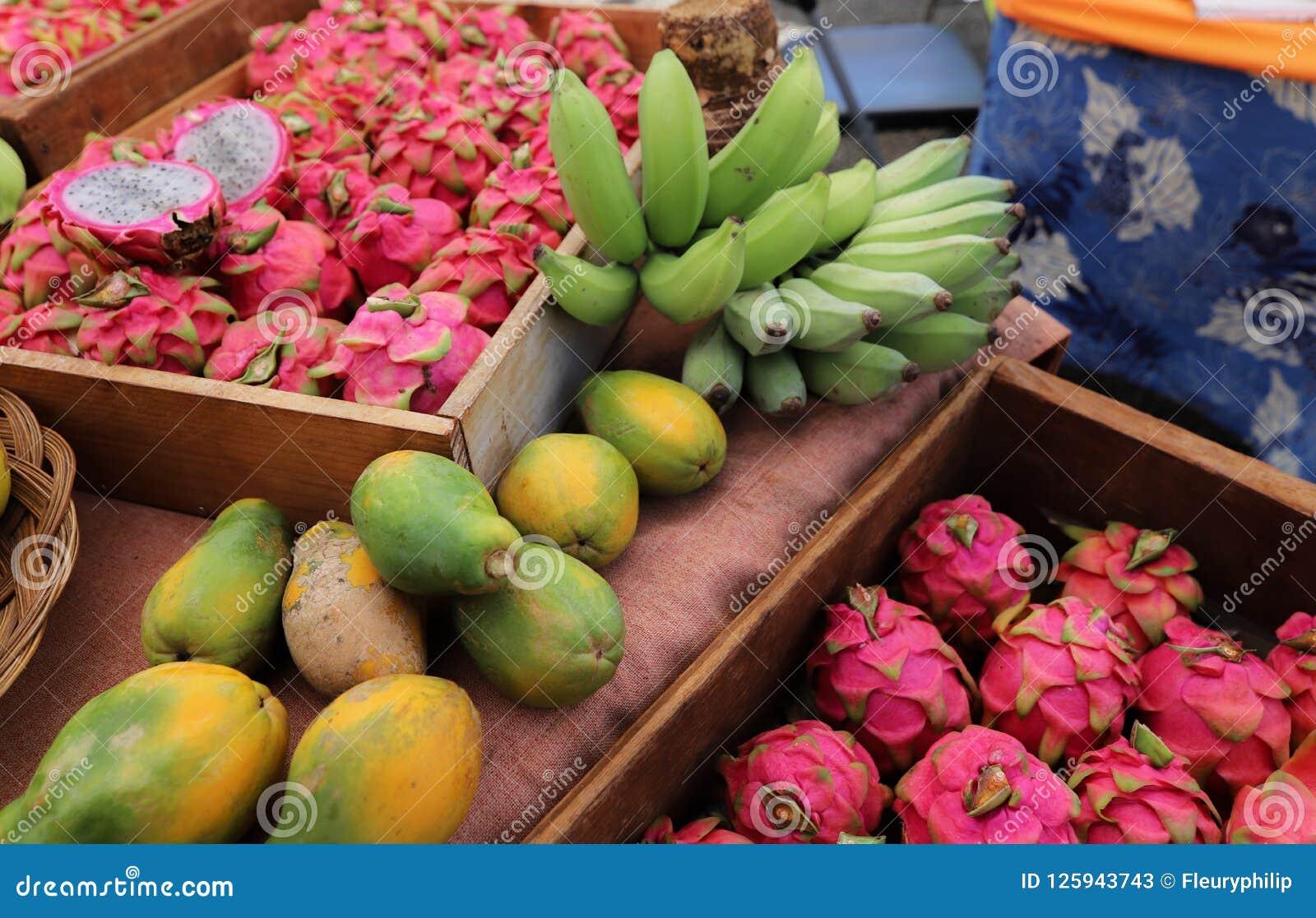 Frukter i ` s för bonden för Hanalei ` s marknadsför