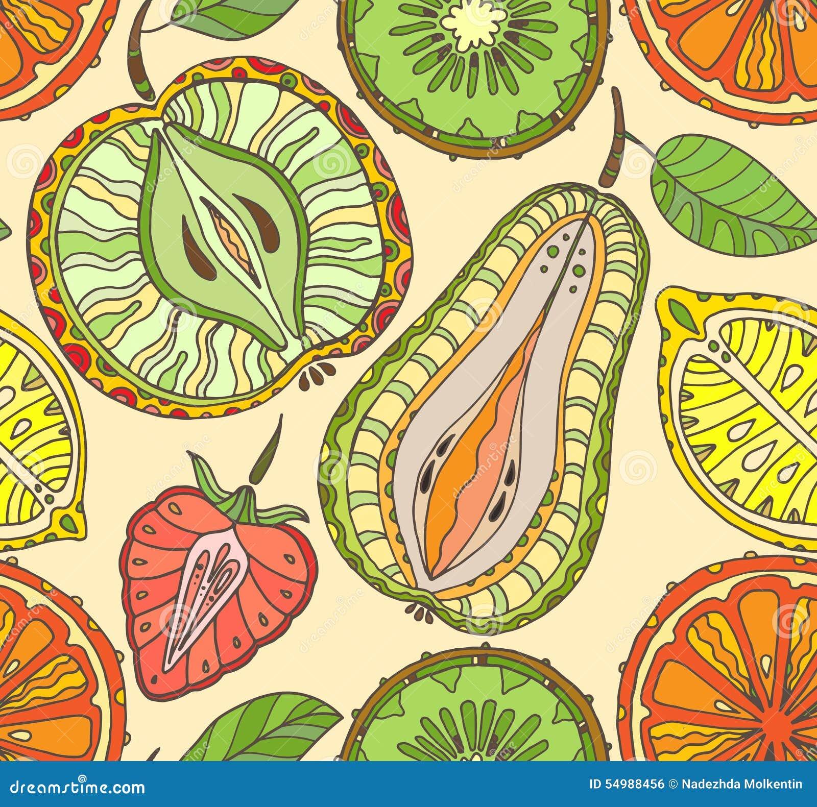 Frukter mönsan seamless Abstrakt bakgrund med frukter hälsa