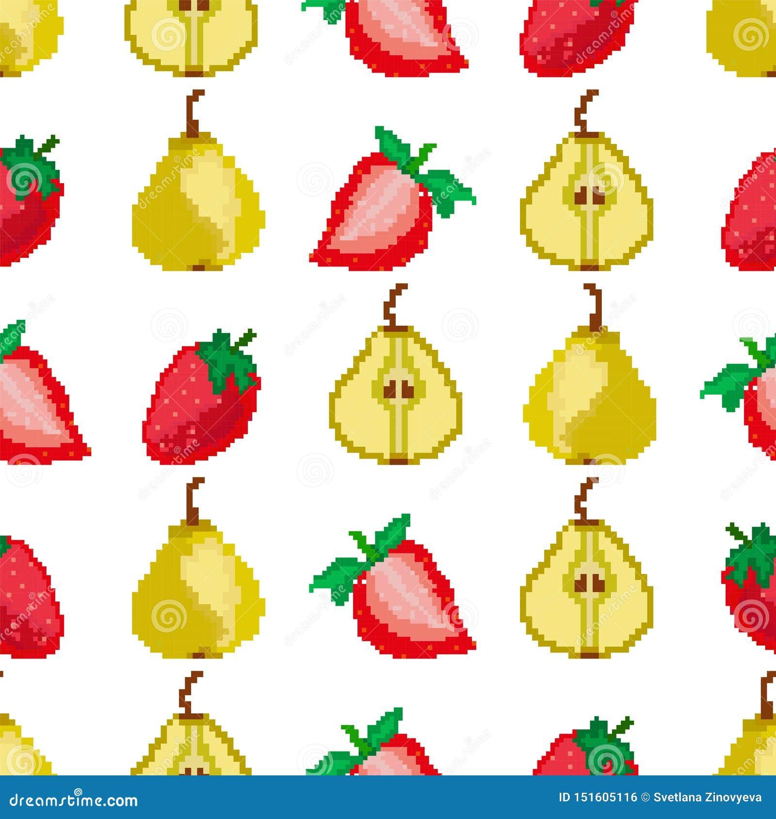 Frukter och b?r Sömlös modell för päron och för jordgubbar PIXELbroderi fyrkant vektor