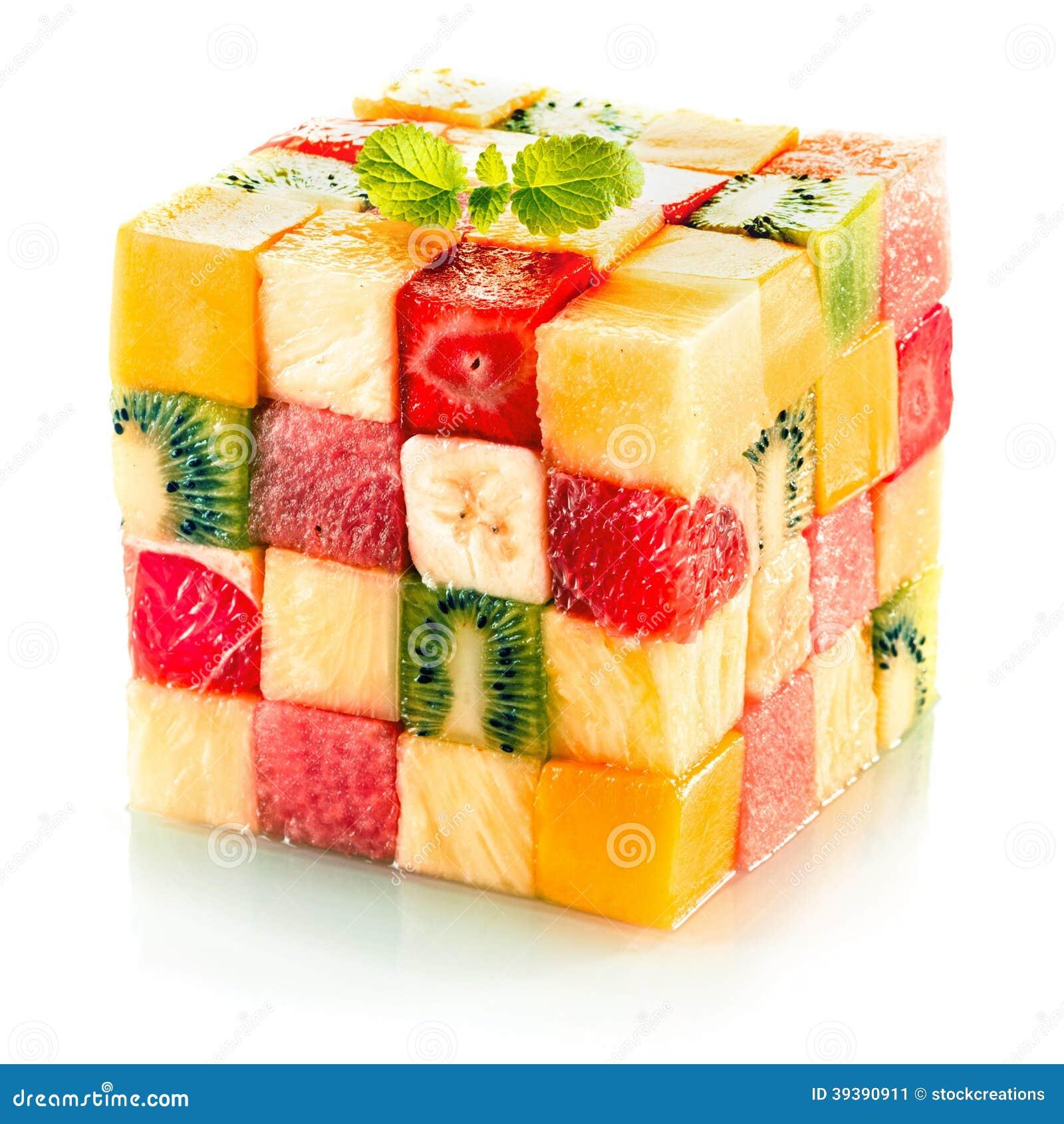 Fruktkub med blandad tropisk frukt