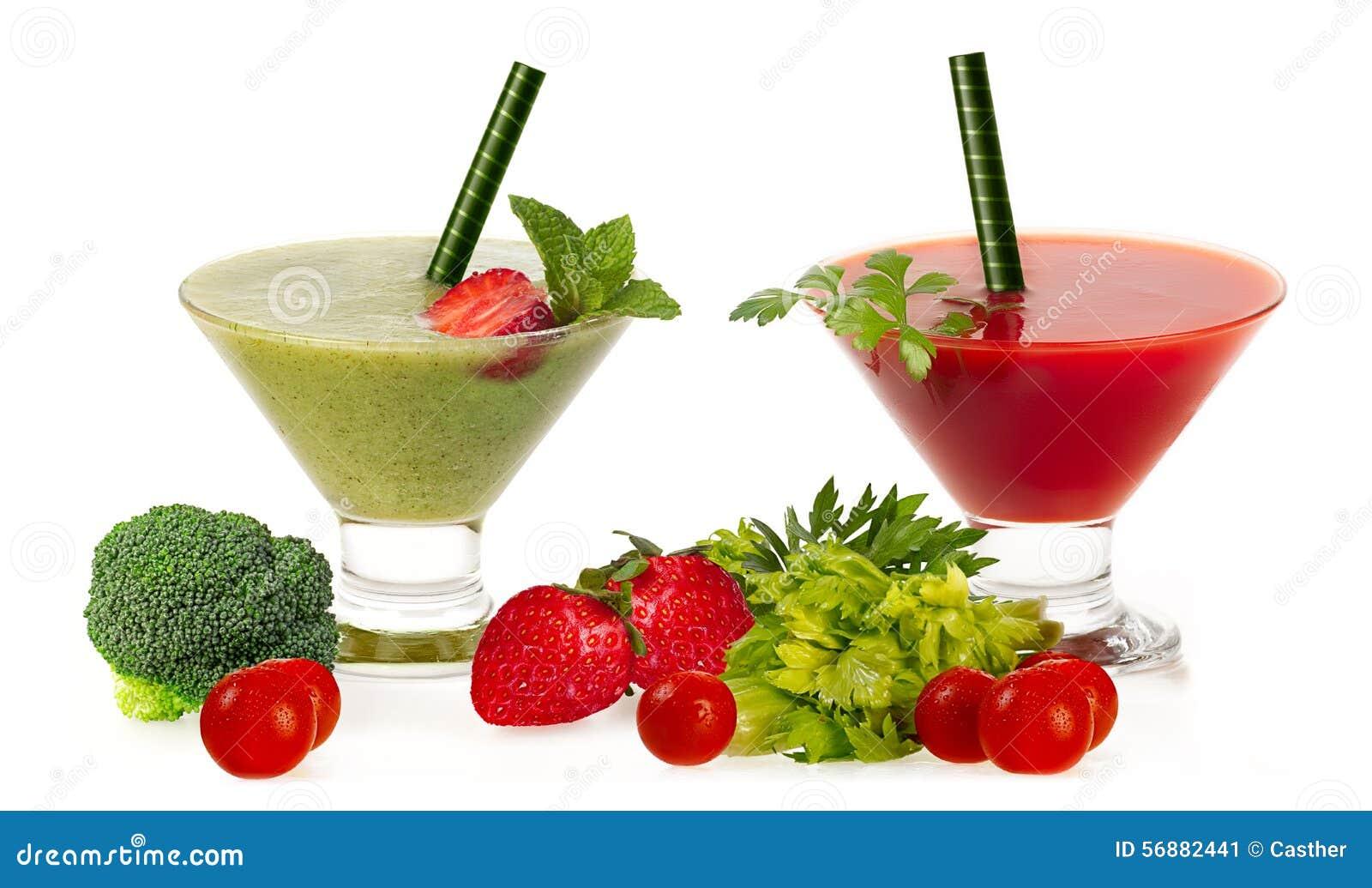 Frullati freschi sani con frutta e Vegatables isolati su Wh