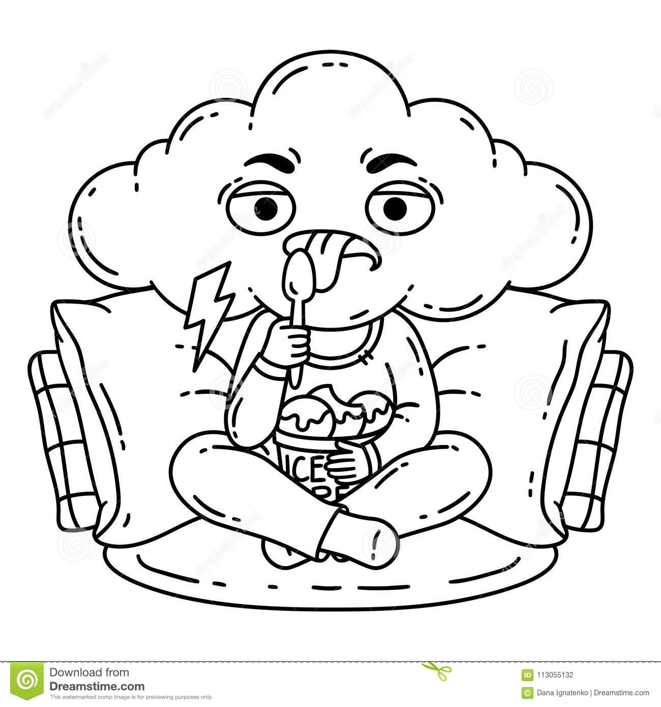 Frustrated, Bad Mood Person Eat Ice Cream. Stock Vector ...