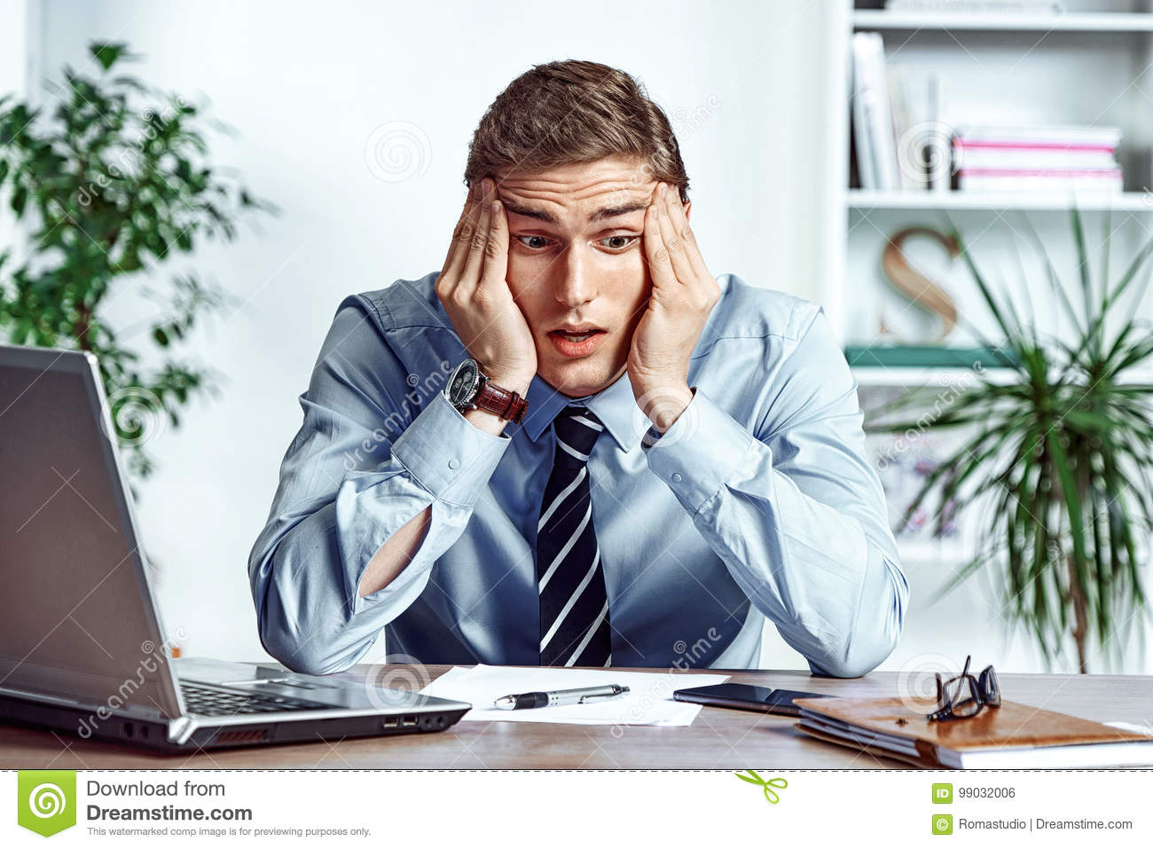 Frustrated businessman dissatisfied his earnings.