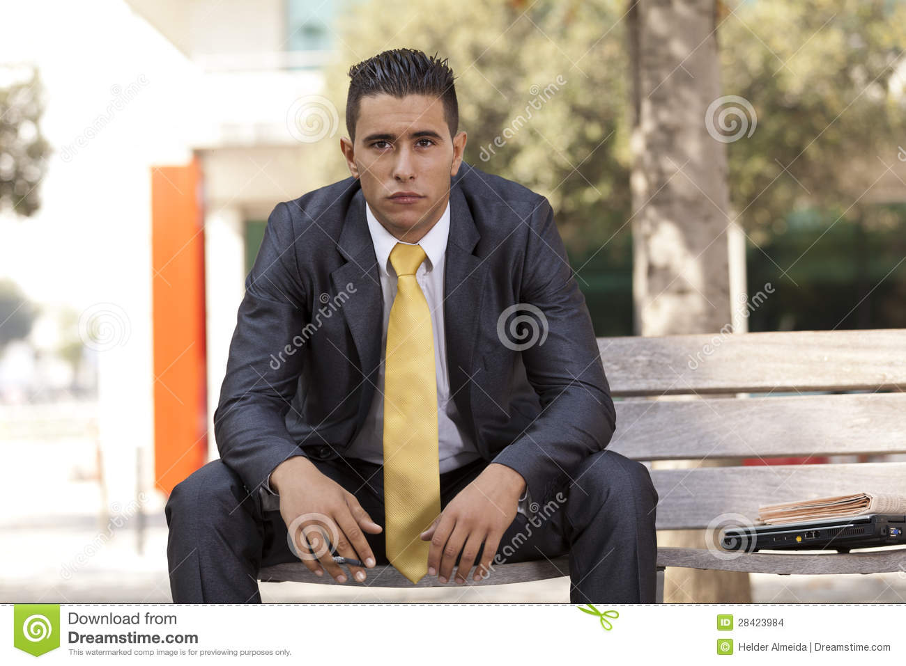Frustrated Businessman Smoking A Cigar Stock Images