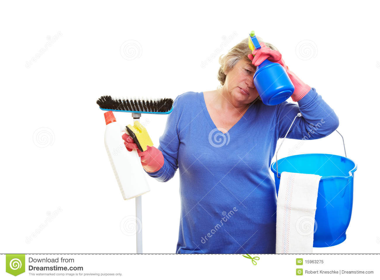 Frustrated Cleaning Lady Stock Image Image Of Cloth