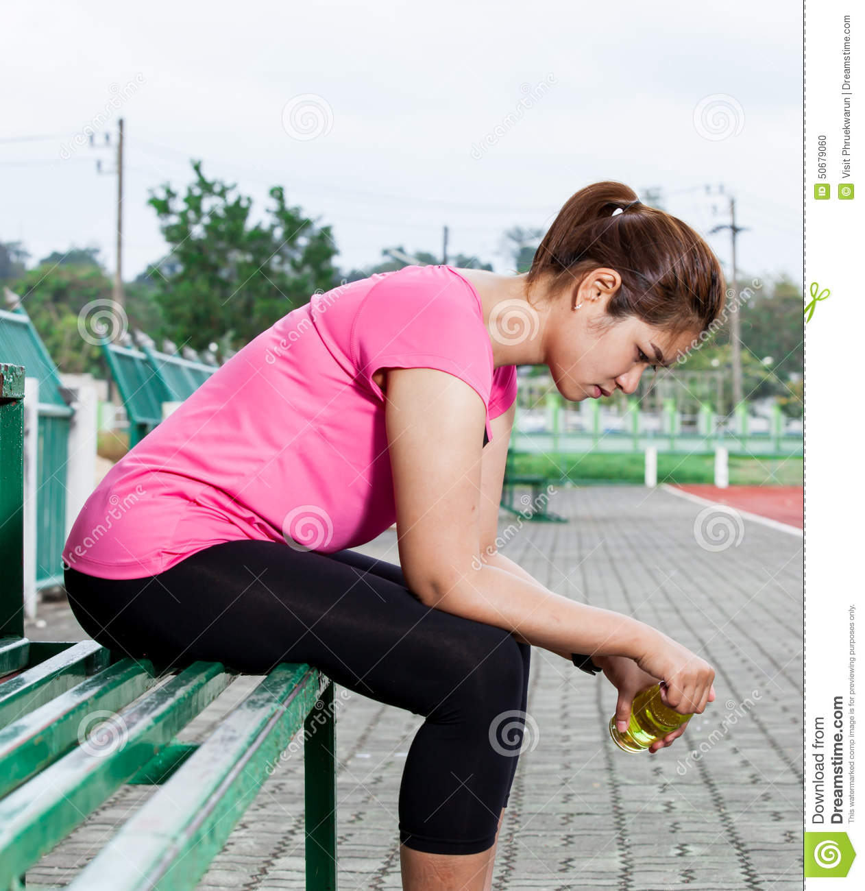 Frustrated female runner