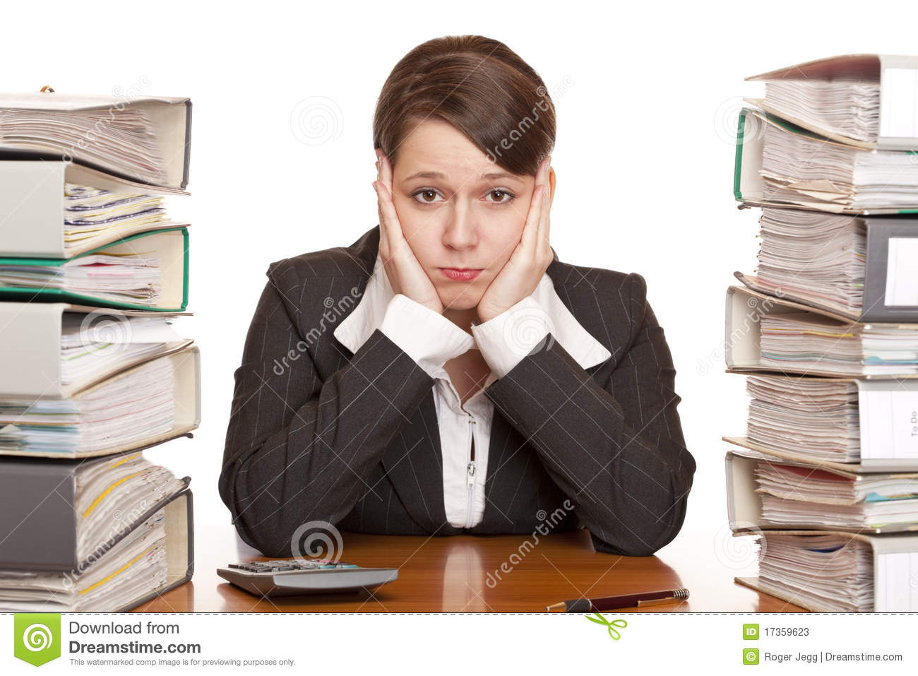 Frustrated Overworked Business Woman In Office Stock Image