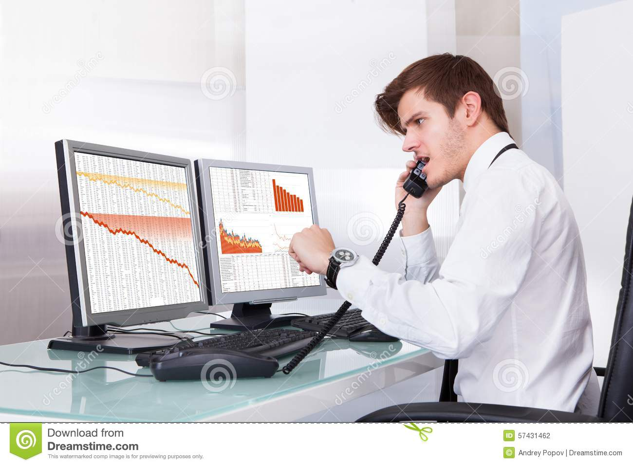 Frustrated office worker on the phone holding stock photo image - Broker Frustrated Office Sitting Stock Telephone