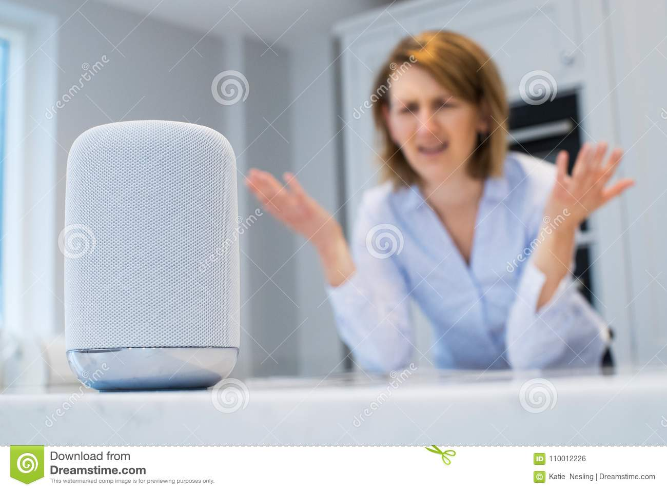 Frustrated Woman In Kitchen Asking Digital Assistant Question Stock ...