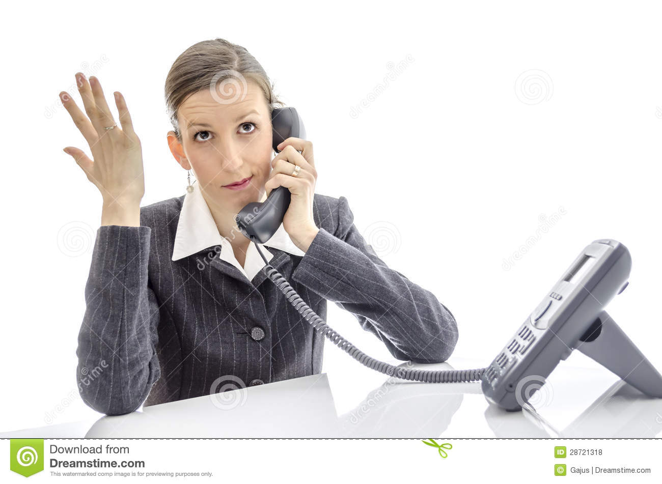 Frustrated office worker on the phone holding stock photo image - Frustrated Woman Making A Phone Call Royalty Free Stock Photos Image 28721318