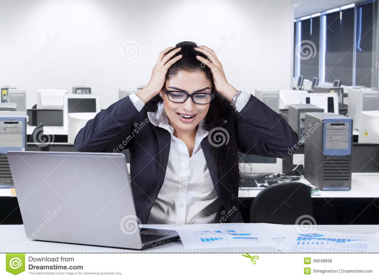 Frustrated office worker on the phone holding stock photo image - Businesswoman Frustrated Office Shouting Worker