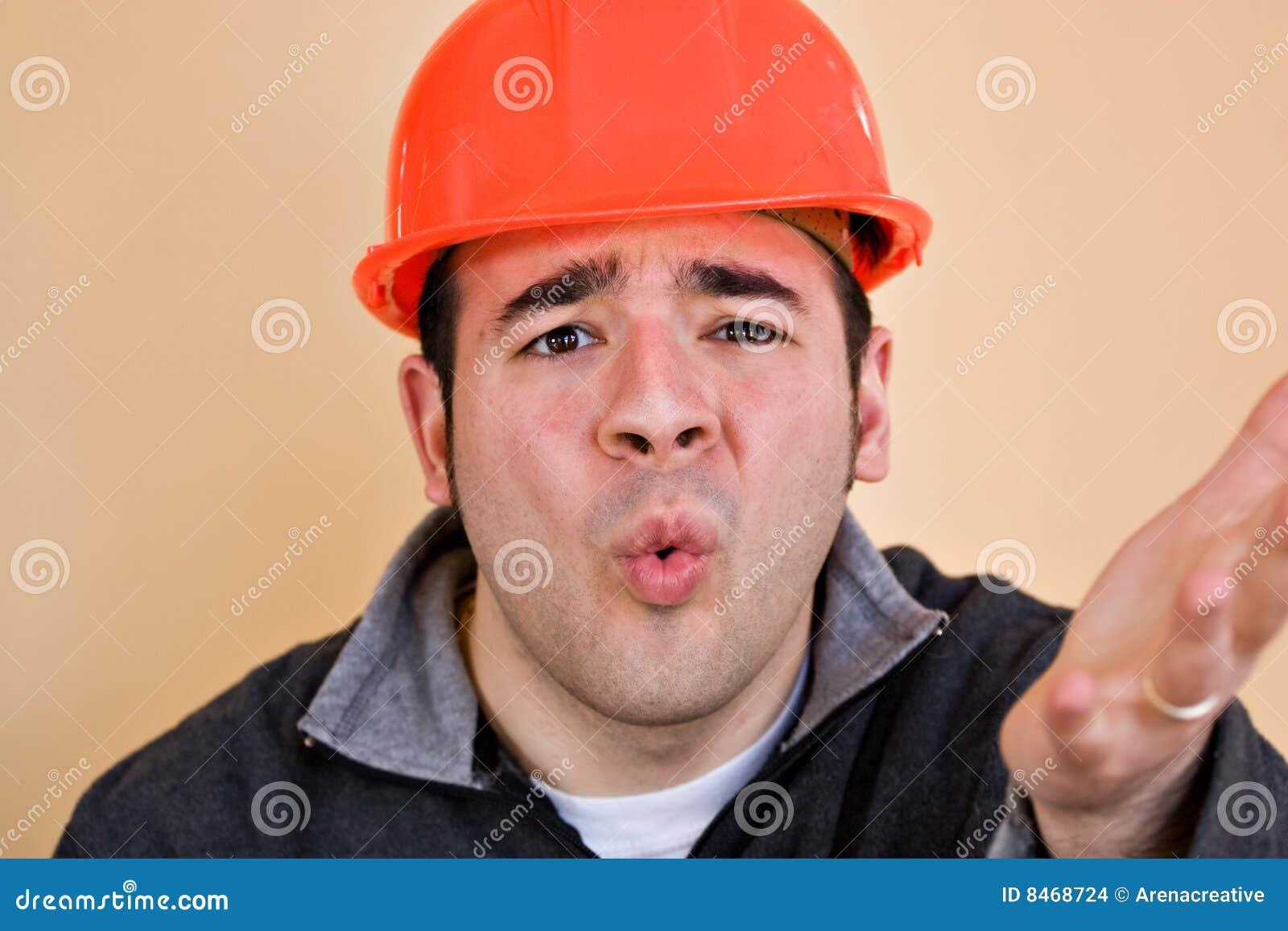 Frustrerad arbetare för konstruktion