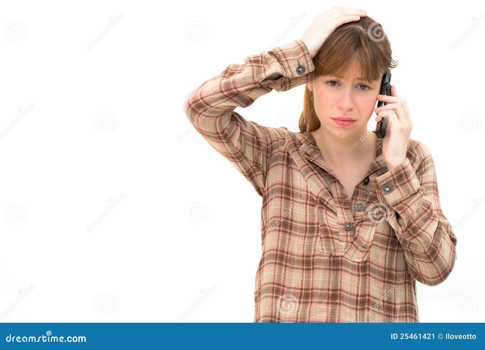 Frustrerad telefonkvinna