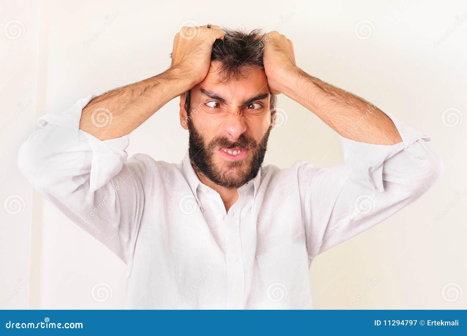 Frustrerat skrika för man