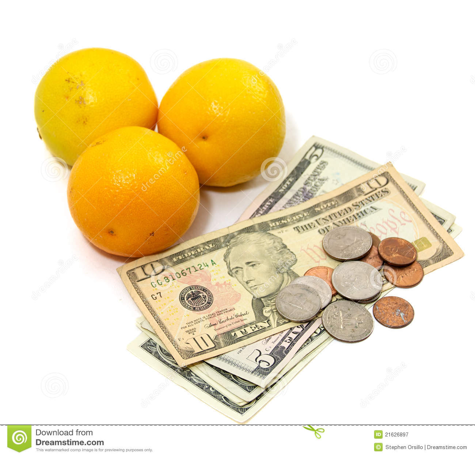 Fruta alaranjada com dinheiro