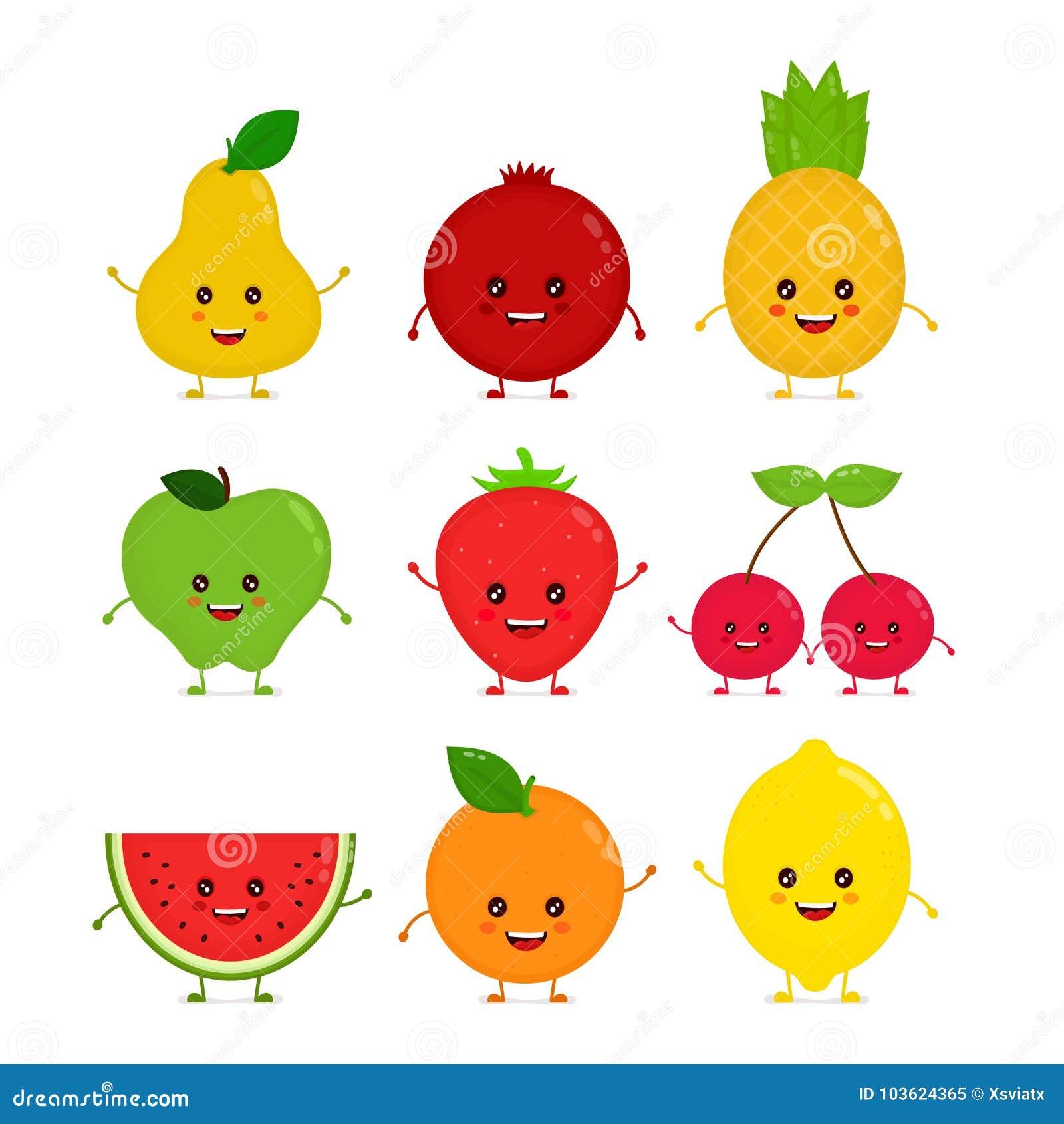 Fruta cruda divertida sonriente feliz linda