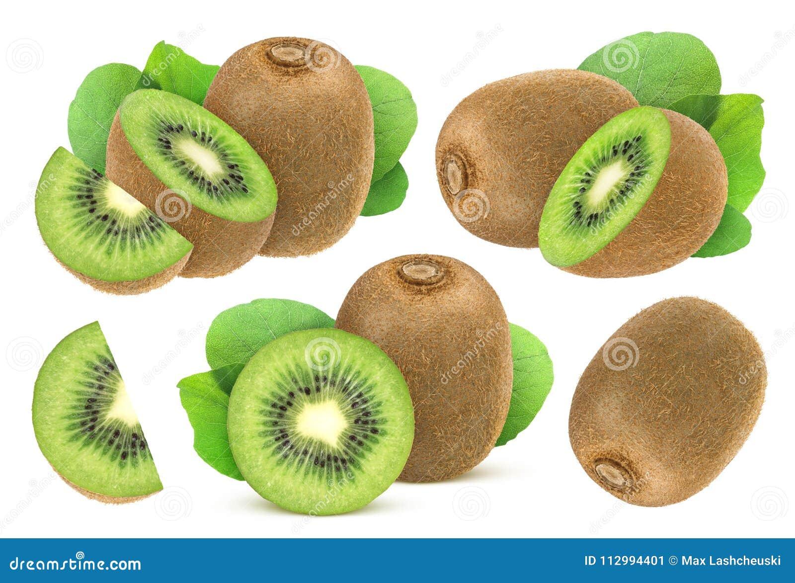 Fruta de kiwi aislada Colección de kiwi entero y cortado aislado en el  fondo blanco 57ae0fdf5d21