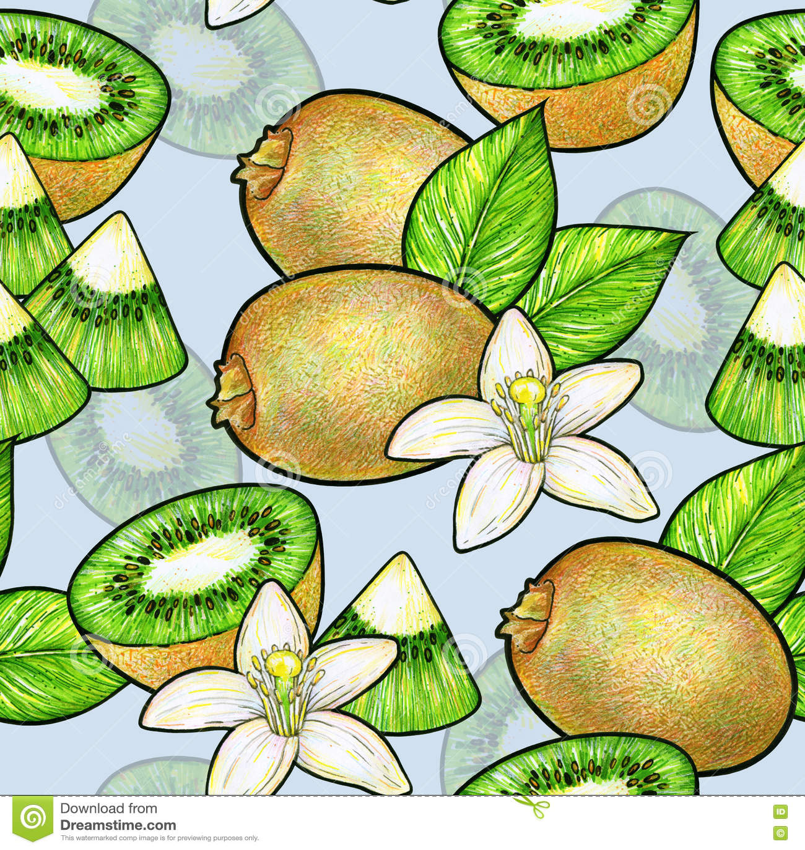 Fruta De Kiwi Verde Y Flores Blancas Con Las Hojas Verdes Aisladas