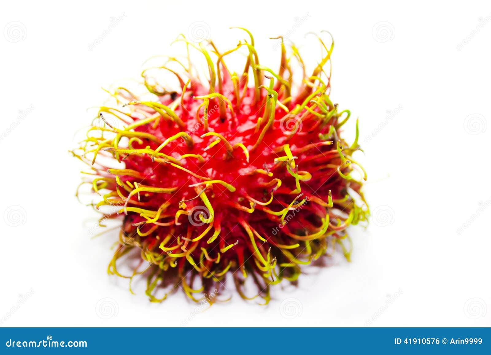 Fruta del Rambutan en el fondo blanco