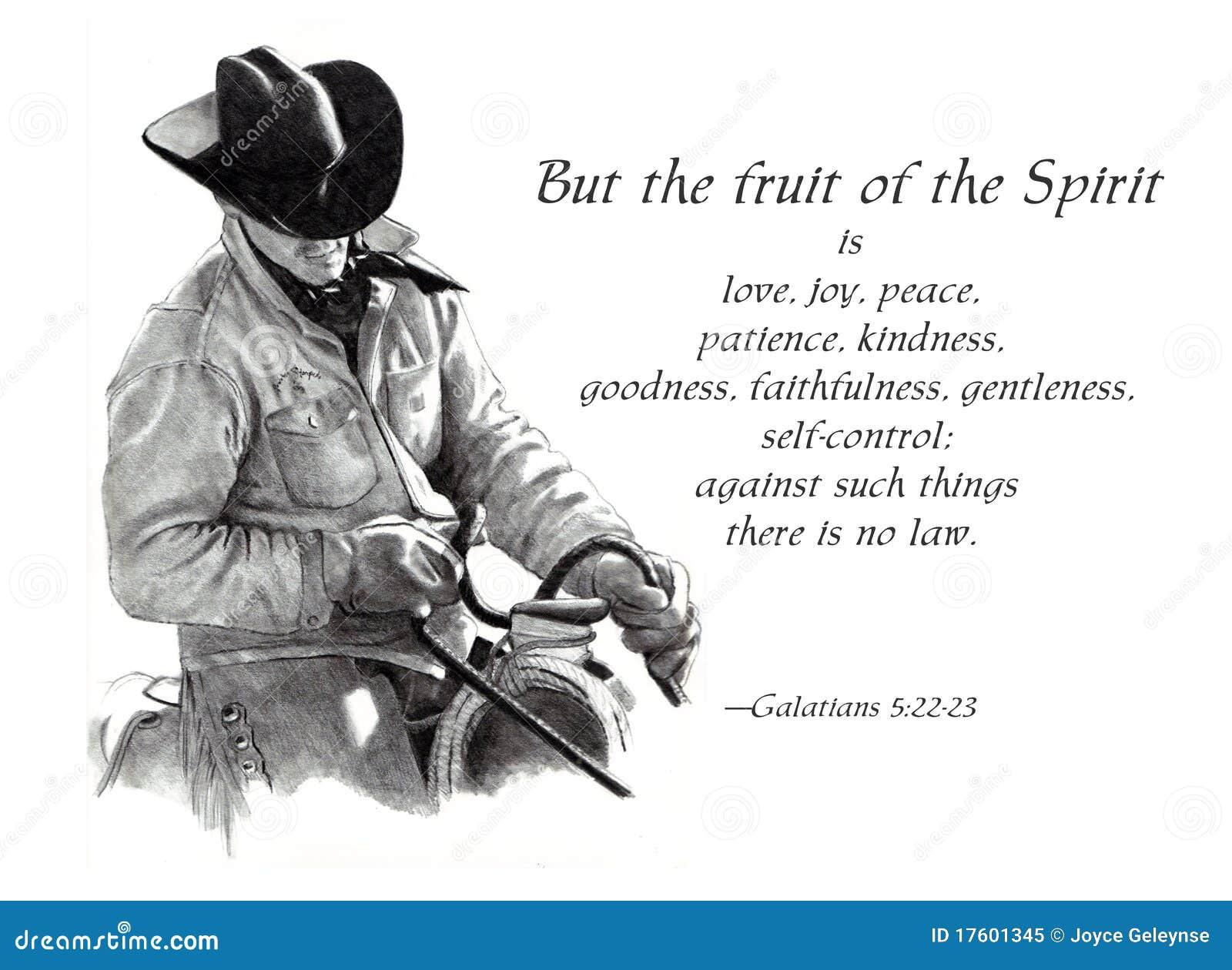 Fruta do verso da Bíblia do espírito com cowboy