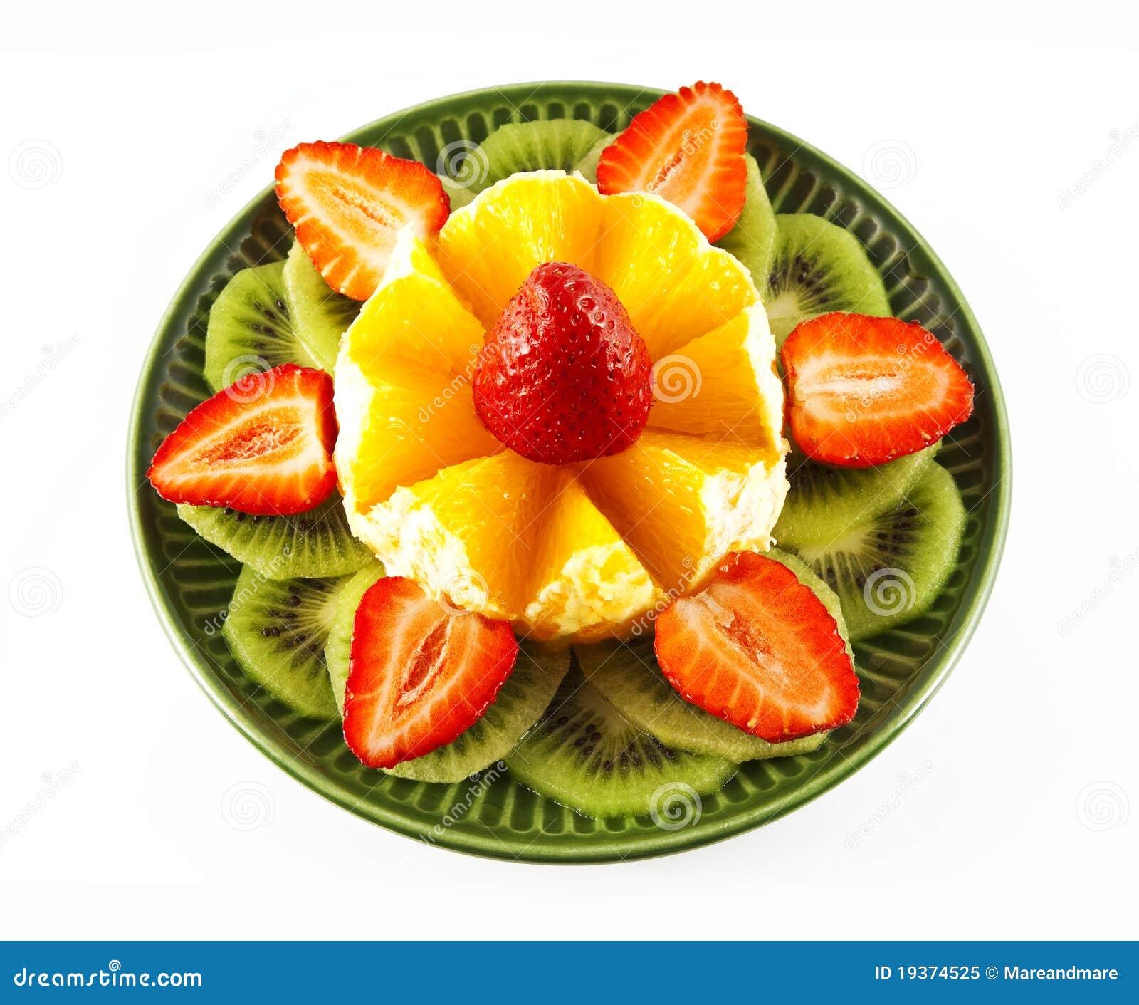 Fruta em um saucer verde