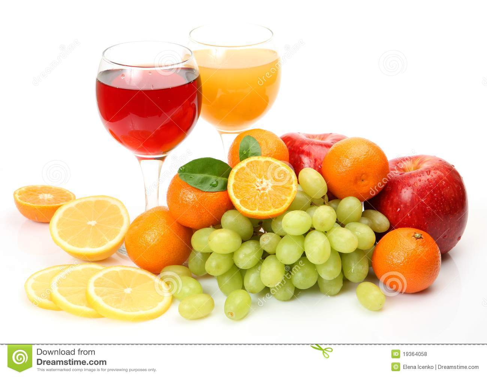 Fruta fresca e suco