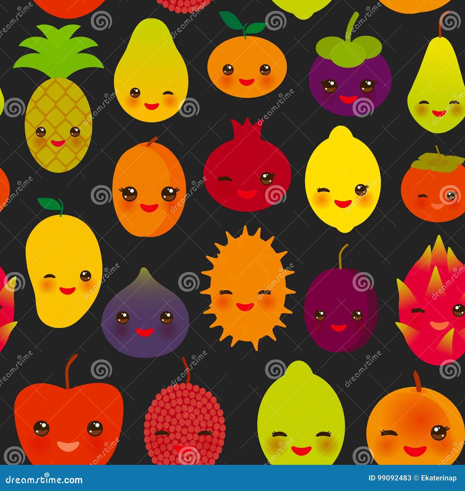 Fruta linda del dragón del ciruelo del albaricoque de la cal de la granada del caqui de la papaya de la piña de la mandarina del
