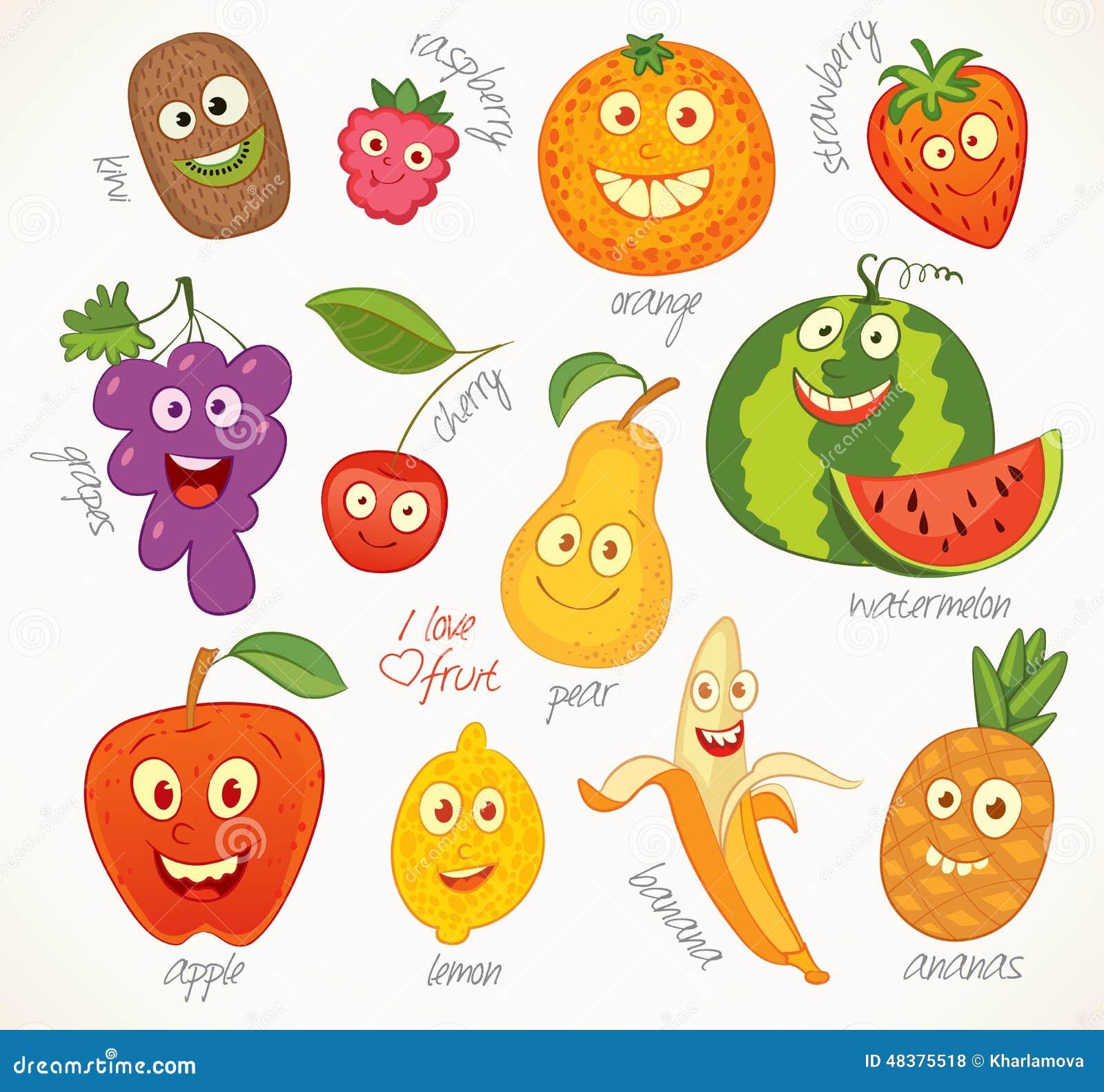 Illustration de personnage de dessin animé drôle de fruits
