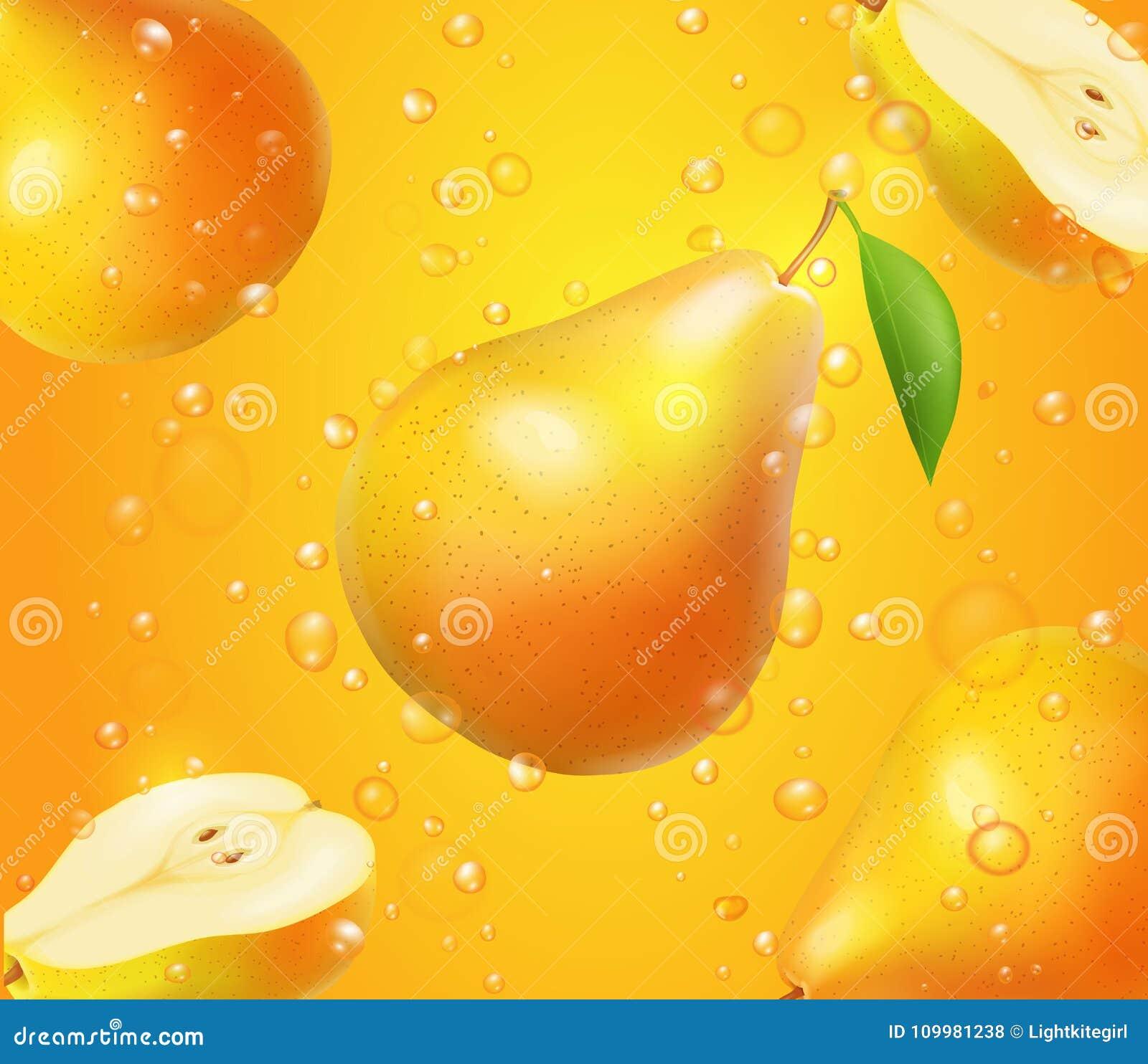 Fruta realista de la pera en el diseño del jugo para hacer publicidad