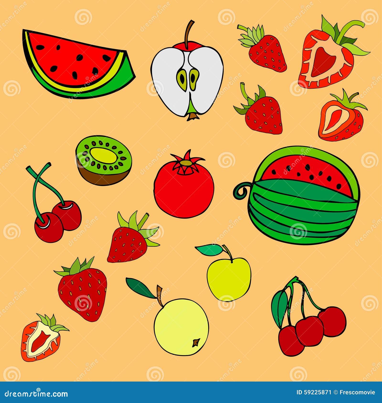 Download Frutas ilustración del vector. Ilustración de naive, fruta - 59225871