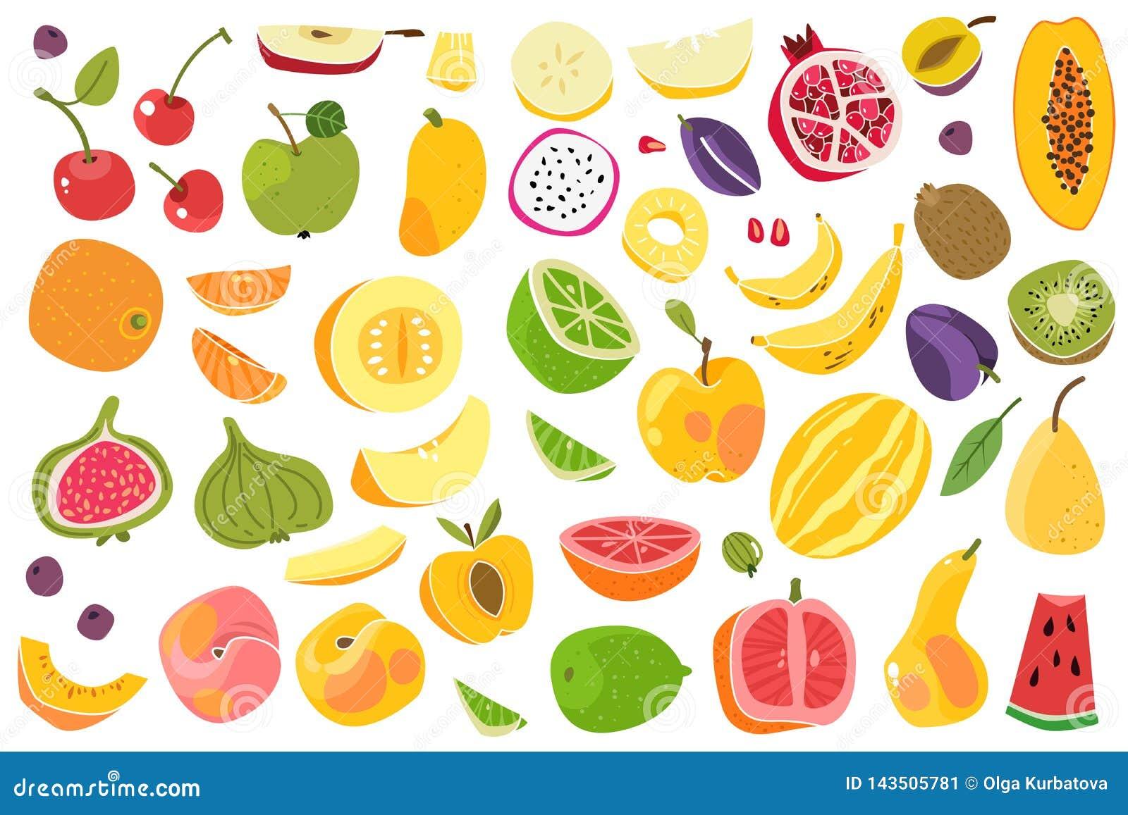Frutas aisladas Fruta colorida del melocotón de la cereza del ciruelo del plátano de la cal anaranjada del melón Sistema natural