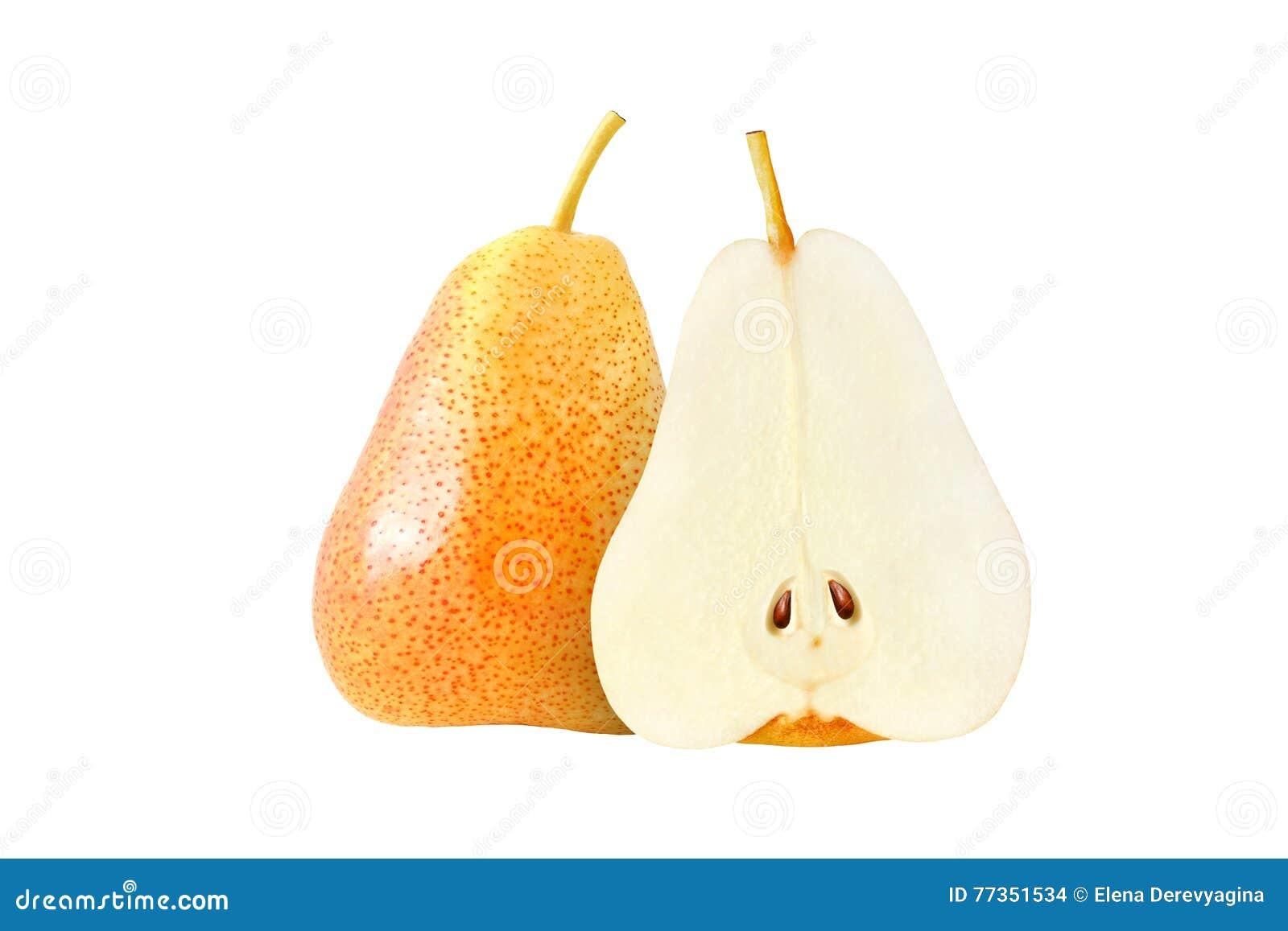 Frutas amarillas enteras y cortadas de la pera aisladas con la trayectoria de recortes