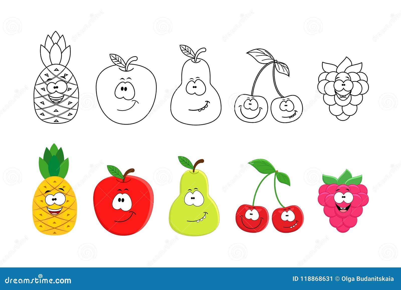 Frutas De La Historieta Fijadas Páginas Del Libro De Colorear Para