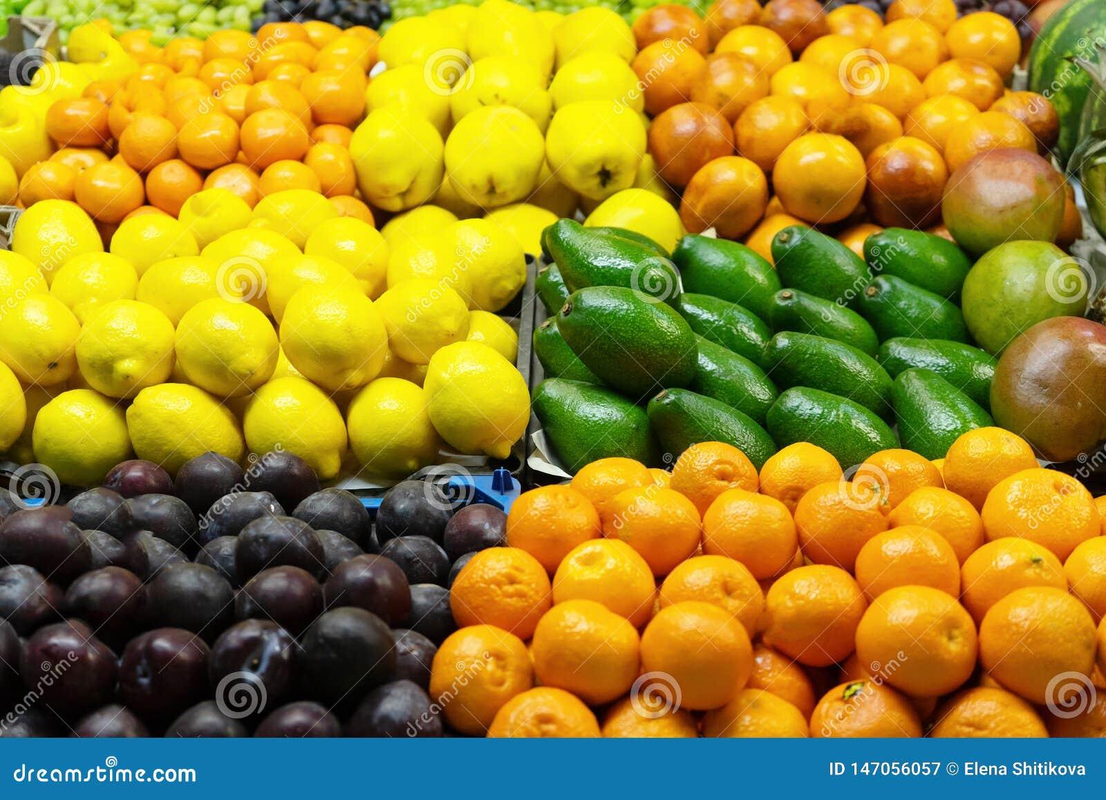 Frutas frescas mercado Primer