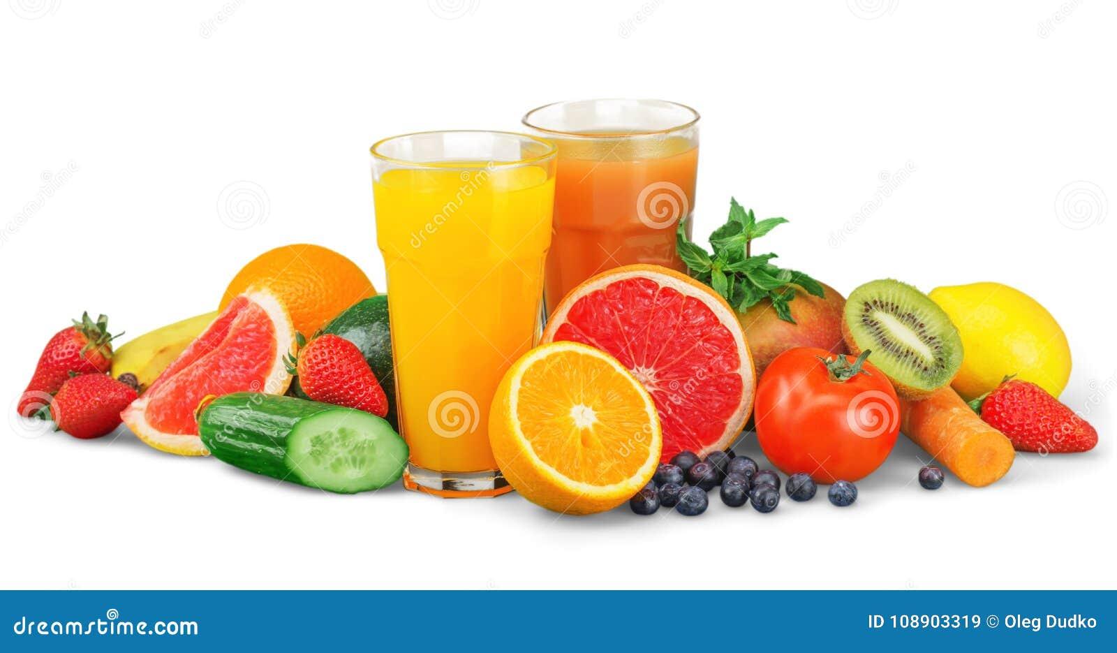 Frutas y jugo sabrosos con las vitaminas encendido