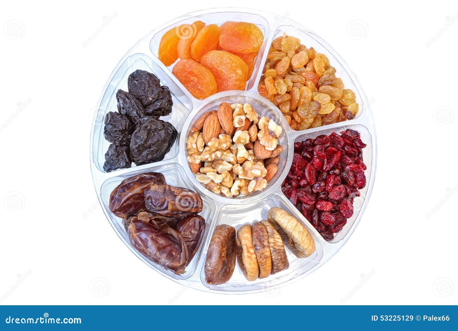 Frutas y tuercas secadas