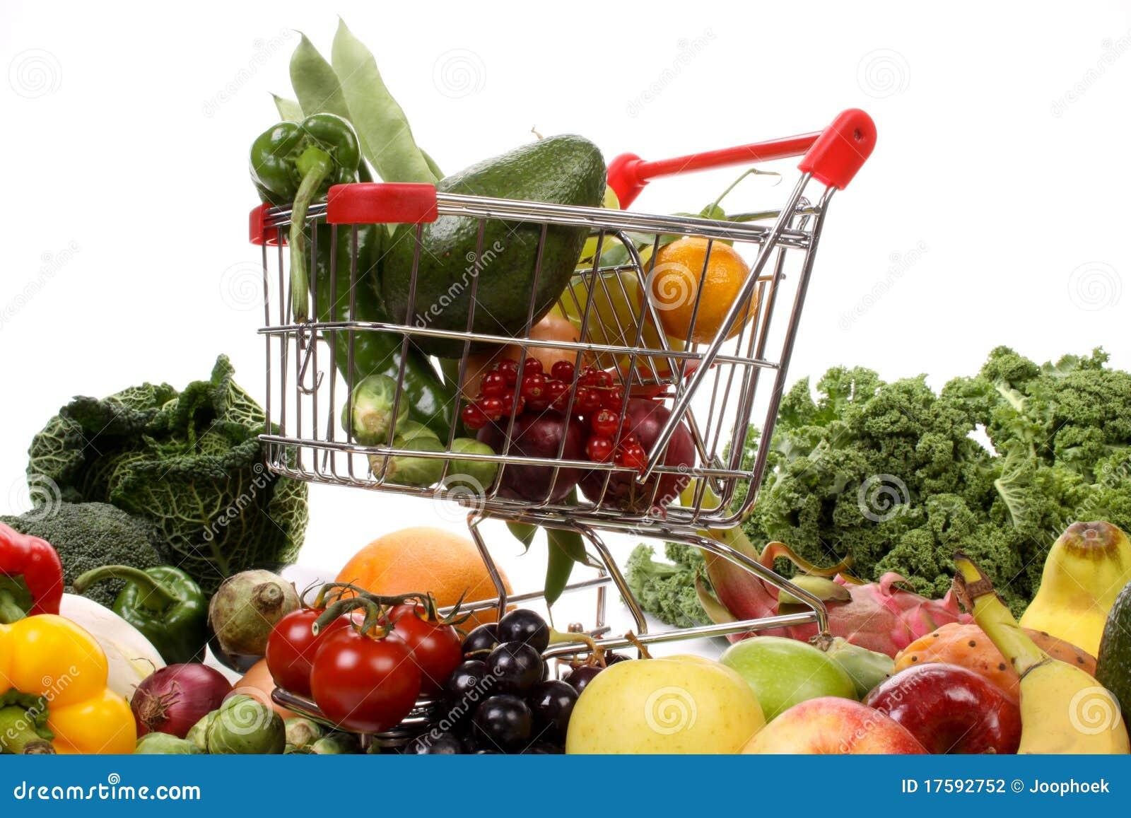 Frutas y verdura en un carro de compras fotograf a de - Carro de frutas ...